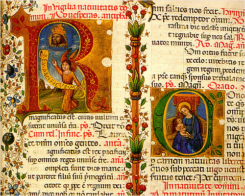 'Breviarium romanum' en vitela. Texto a dos columnas, letra gótica -cursiva-. Reclamos horizontales en margen inferior