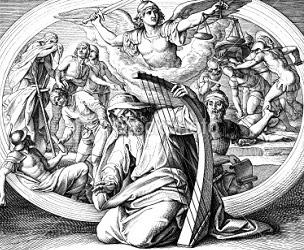Salmo XXXIV: «Señor, pelea contra los que me atacan; combate contra los que me hacen la guerra. Sufran una derrota y queden avergonzados lo que me persiguen a muerte. Vuelvan la espalda llenos de confusión los que traman mi daño. Sean como polvo frente al viento cuando el ángel del Señor los desbarate.»