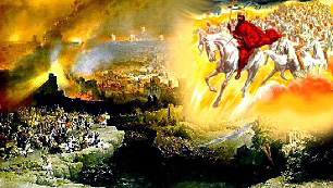 Apocalipsis XIX,11-21: «Y vi el cielo abierto, y he aquí un caballo blanco, y el que montaba es el que se llama Fiel y Veraz, que juzga y pelea con justicia. Sus ojos son llama de fuego, y en su cabeza lleva muchas diademas, y tiene un nombre escrito que nadie conoce sino Él mismo. Viste un manto empapado de sabgre, y su Nombre es: el Verbo de Dios. Le siguen los ejércitos del cielo en caballos blancos, y vestidos de finísimo lino blanco y puro. De su boca sale una espada aguda, para que hiera con ella a las naciones. Es Él quien las regirá con cetro de hierro: es Él quien pisa el lagar del vino de la furiosa ira de Dios el Todopoderoso. En su manto y sobre su muslo tiene escrito este nombre: REY DE REYES Y SEÑOR DE SEÑORES... Y ví a la bestia, y a los reyes de la tierra, y a sus ejércitos, reunidos para dar la batalla contra Aquel que montaba el caballo y contra su ejército. Y la bestia fue presa, y con ella el falso profeta, que delante de ella había hecho los prodigios, por medio de los cuales había seducido a los que recibieron la marca de la bestia y a los que adoraron su estatua. Estos dos fueron arrojados vivos al lago del fuego encendido con azufre. Los demás fueron trucidados con la espada que salía de la boca del que montaba el caballo, y todas las aves se hastaron de la carne de ellos.»